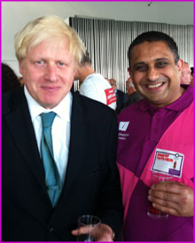 Sanjay Morzaria with the Mayor of London Boris Johnson