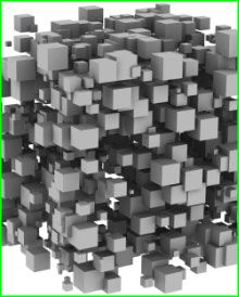 Various size cubes randomly stacked on top of each other.