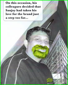 Front of a leaving card with a photo of Sanjay with a photoshoped green goatie