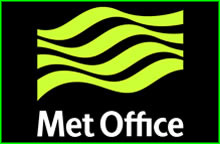 Met Office logo of green ripples on a black background