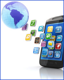 Mobile app icons coming from a globe of the world in the top left-hand corner into a mobile phone in the bottom right corner.